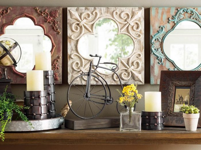 Rustic Wall Decor Ideas - New Chalk Painted Mirrored Wall Tiles - Cabritonyc.com